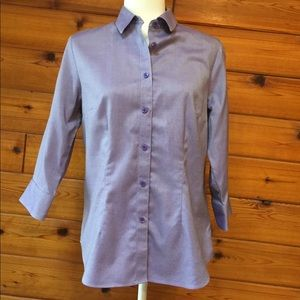 Coldwater Creek purple button down top.